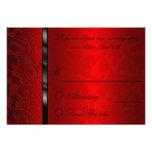 Cartão de resposta vermelho do damasco da folha convites personalizados