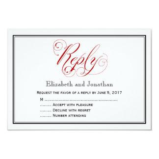 Cartão de resposta vermelho e branco elaborado do convite 8.89 x 12.7cm