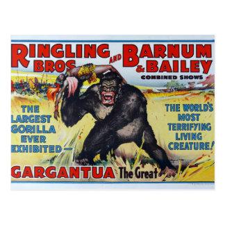Cartão de Ringling Bros do vintage