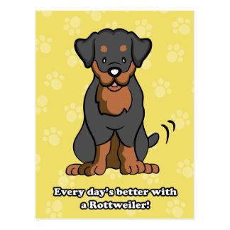 Cartão de Rottweiler dos desenhos animados