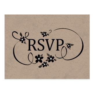Cartão de RSVP - Brown & floral extravagante do Cartões Postais