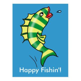 Cartão de salto dos peixes dos desenhos animados cartão postal
