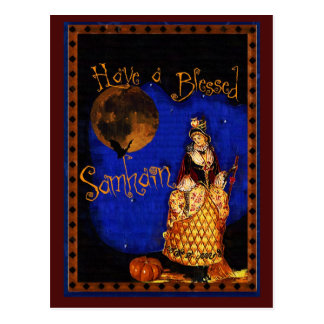 Cartão de Samhain da bruxa do vintage