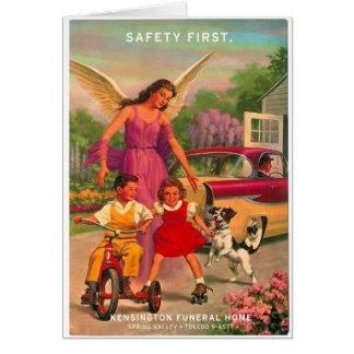 Cartão de segurança retro da agência funerária do