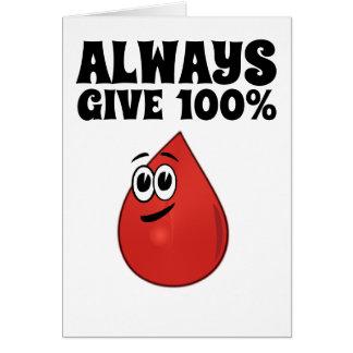 Cartão Dê sempre 100%, a menos que você estiver doando o