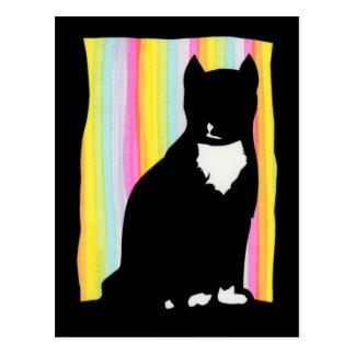 Cartão de Sihouette do gato preto