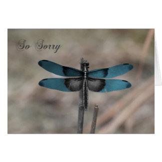 Cartão de simpatia azul da natureza da libélula