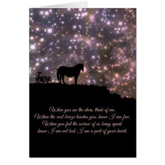 Cartão de simpatia bonito do cavalo e do poema