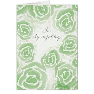 Cartão de simpatia com rosas pintados mão