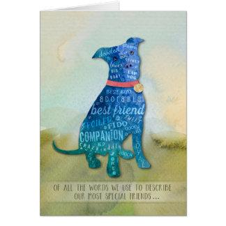 Cartão de simpatia do cão de Pitbull - de todas as