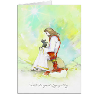 Cartão de simpatia do cão - Jesus com cão pequeno