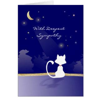 Cartão de simpatia do gato - lua e estrelas