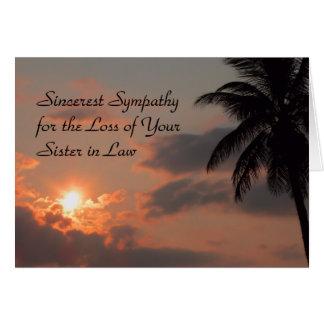 Cartão de simpatia para a irmã na lei com por do