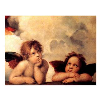 Cartão de Sistine Madonna dos querubins de Raphael Cartoes Postais