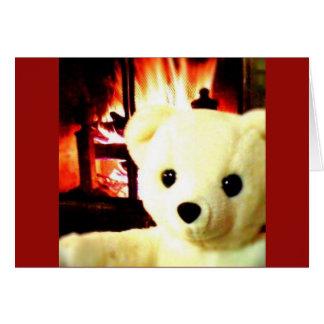 Cartão de Snowbear da lareira
