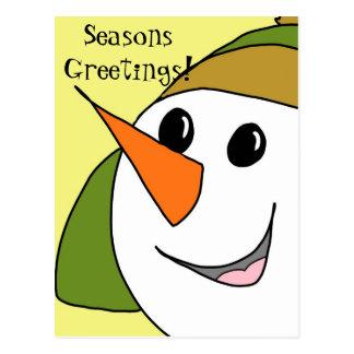 Cartão de sorriso do boneco de neve dos