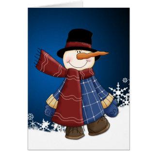 Cartão de sorriso do Natal do boneco de neve