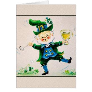 Cartão De St Patrick alegre do Leprechaun do vintage