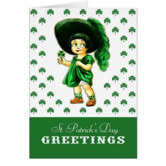 Cartão De St Patrick irlandês da menina do vintage