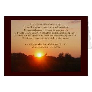 Cartão de Sunglow da alegria de Joanne