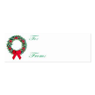 Cartão de Tag do Natal da grinalda Cartões De Visita