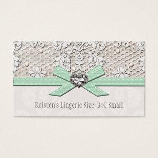 Cartão de tamanho da lingerie do encanto da pérola