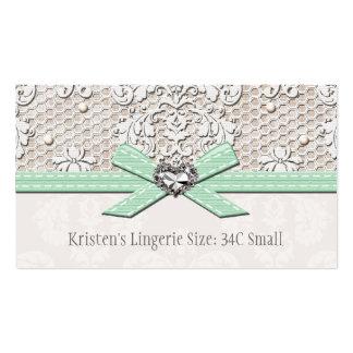 Cartão de tamanho da lingerie do encanto da pérola cartao de visita