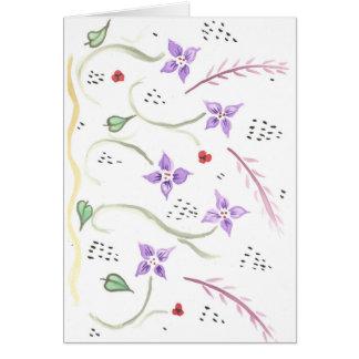 cartão de teste padrão floral roxo