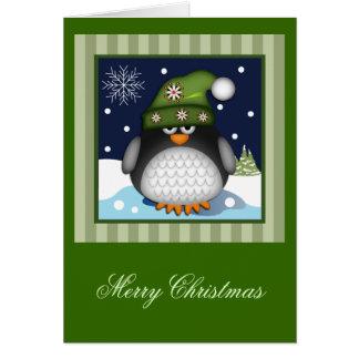 Cartão de texto bonito do Feliz Natal do pinguim