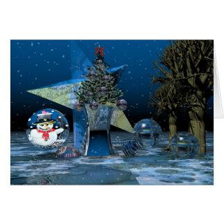 Cartão de texto surrealista do cenário do Natal da