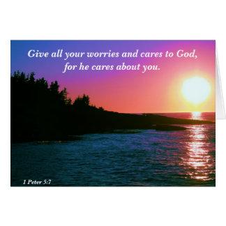 Cartão Dê todos seus preocupações e cuidados ao deus