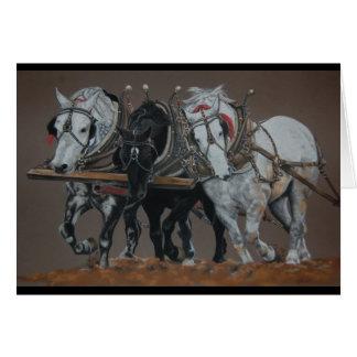 Cartão de três cavalos do Rei-Arado