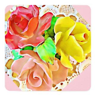 Cartão de três rosas, convite: vermelho,