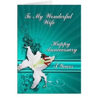 cartão de um aniversário de 3 anos para uma esposa