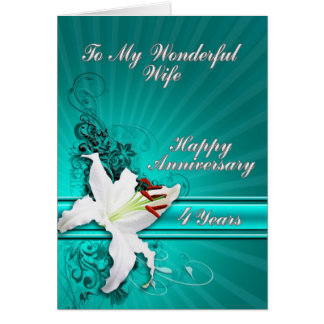 cartão de um aniversário de 4 anos para uma esposa
