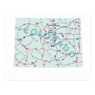 Cartão de um estado a outro do mapa de Colorado Cartão Postal