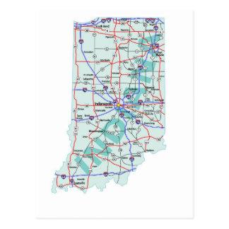 Cartão de um estado a outro do mapa de Indiana
