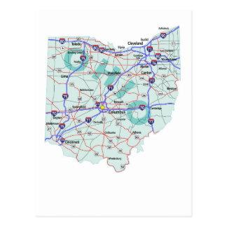 Cartão de um estado a outro do mapa de Ohio