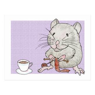 Cartão de um hamster cinzento que faz malha um