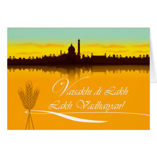 Cartão de Vaisakhi, Punjabi Romanized, silhueta da