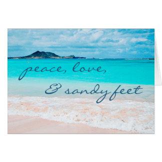 """Cartão De """"vazio da foto da praia da água azul dos pés"""