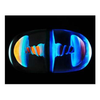 Cartão de vidro alaranjado e azul da cápsula de