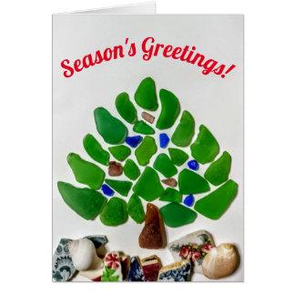 Cartão de vidro da árvore de Natal do mar dos