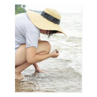 Cartão de vidro da caça da praia