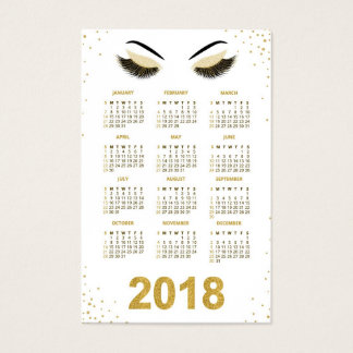 Cartão de visita 2018 do calendário do maquilhador