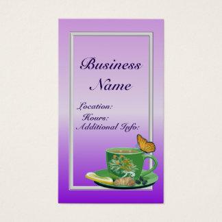 Cartão de visita 2 do copo de café da lavanda