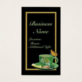 Cartão de visita 2 do copo de café verde & preto