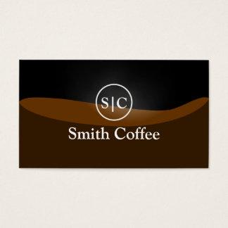 Cartão de visita à moda do café preto do monograma