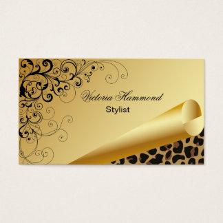 Cartão de visita à moda do ouro & do impressão de