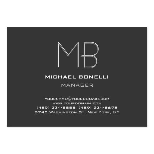 Cartão de visita à moda na moda cinzento liso do m